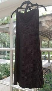 Retro black and pink polka dot halter dress - smal