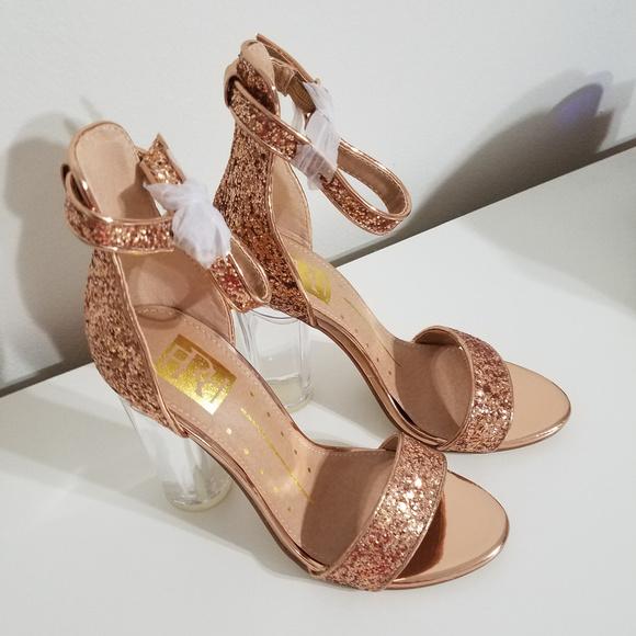 3ebb9f767 Rose Gold Glitter Single Sole Clear Heels