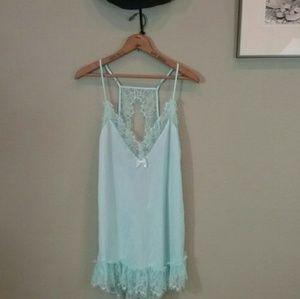 Pastel baby blue Betsey Johnson lingerie slip