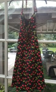 Retro black halter dress with cherry pattern -5