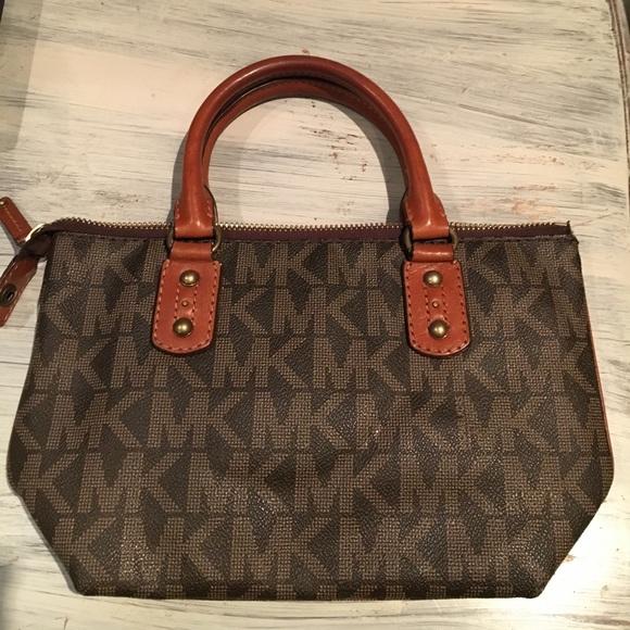e00eea3787a449 Michael Kors Bags | Mk Leather Monogram Small Tote | Poshmark