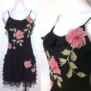 vintage Sue Wong black silk dress w/ pink roses