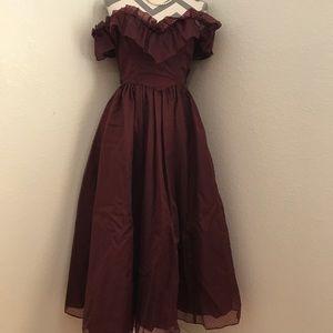 Vintage Maroon Boho Gypsy Gunne Sax Gown