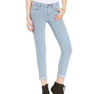 Pinstriped skinny jeans.