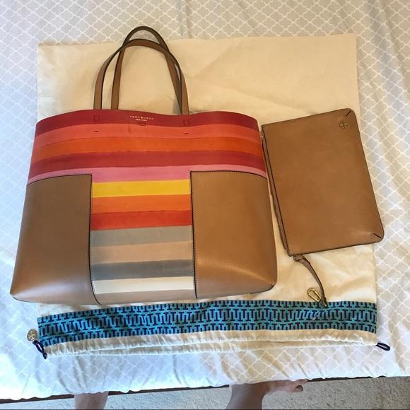 a674b55e28e3 Tory Burch Multicolor Block-T Handbag Tote w Pouch.  M 59af78583c6f9f8e1802bd9f