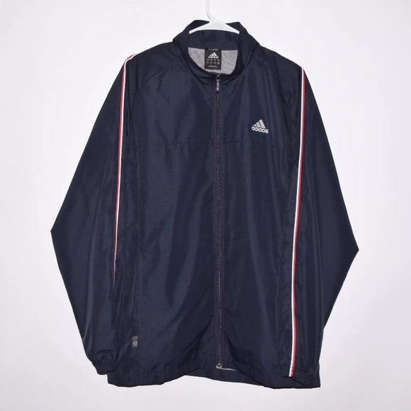 Adidas Mens Xl Windbreaker Lightweight Jacket Navy Light Blue Climaproof Activewear