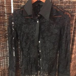 Bebe Long Sleeve Button Up Collared Top