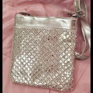 Handbags - Silver crossbody mirror and studs purse. New