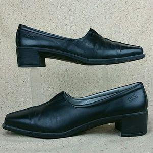 Ecco Slip On Split Toes  Heel Shoes Black W 40