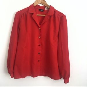 Red Polyester Button-Down Shirt Size 16 Plus Size