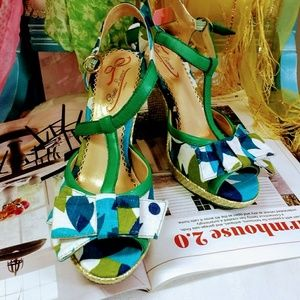 Pretty Turquoise Wedge Sandals by Poetic License