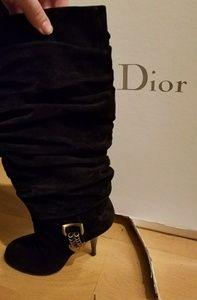Dior black suede boots