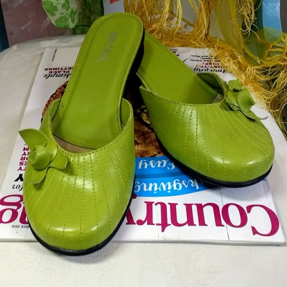 No Call Shoes - Awesome Apple Green Mules Slip-On Flats