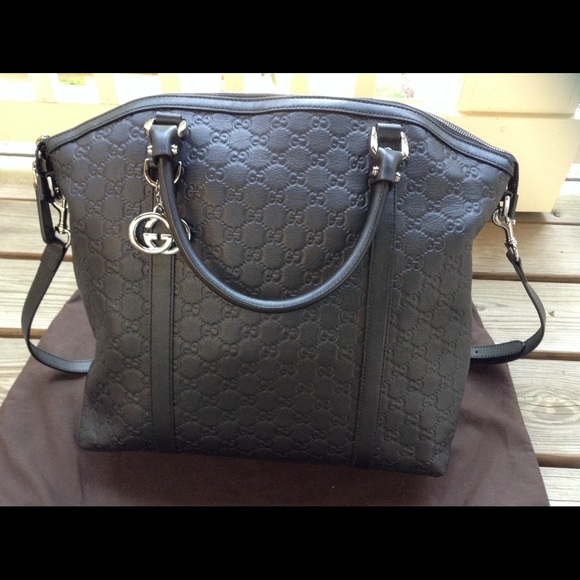 c90bb3cc0e61c Gucci Handbags - Authentic Gucci Black Leather Dome Satchel Bag