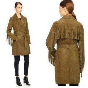 Karl Lagerfeld Paris Olive fringe coat S BEAUTIFUL