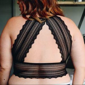 Other - 🆕 XL to 3XL! Black Sheer Lace Halter Bralette Bra