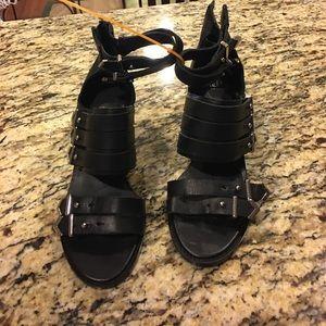 Black Moto Punk Boots Heels