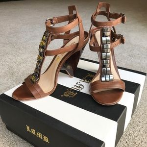 L.A.M.B. brown leather sandals