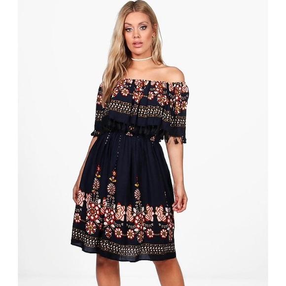 10b5141a5f4 BNWT BooHoo off shoulder tassel dress. Size 18