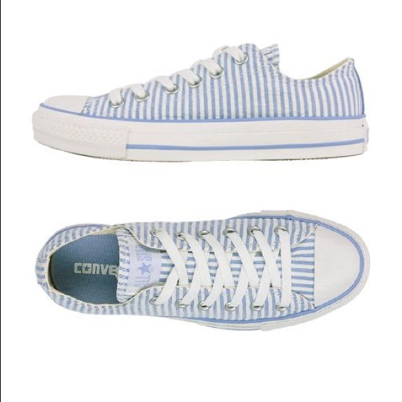 431b67f5326e Converse Shoes - Converse seersucker blue and white low tops 8