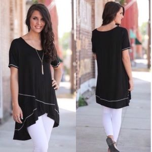 Tops - Black Cross Front Tunic