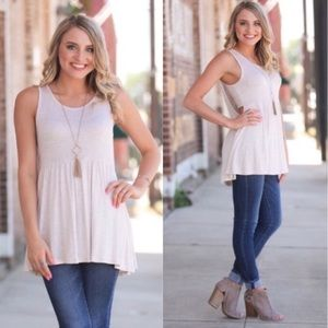 Tops - Oatmeal Bandeau Style Sleeveless Tunic
