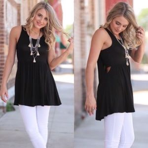 Tops - Black Bandeau Style Sleeveless Tunic