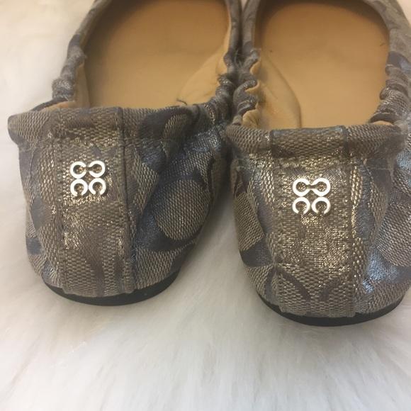 Coach Shoes - COACH Silver Monogram ballet flats size 6.5