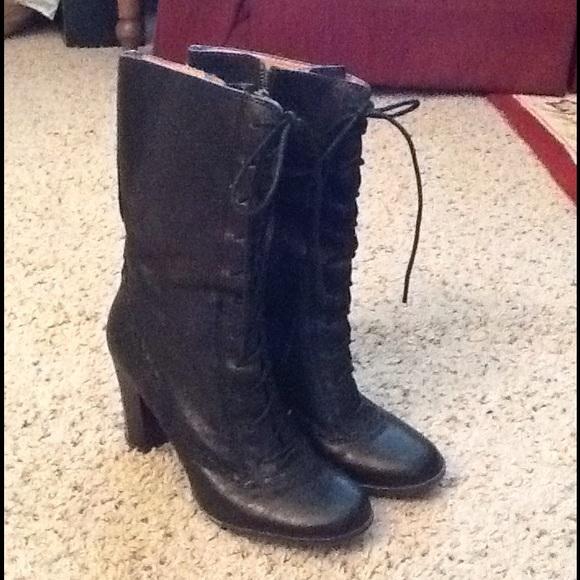Frye Shoes - FRYE BLACK LEATHER LACE UP GRANNY BOOTS 25e00e60e