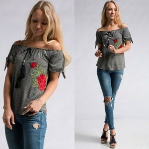 Tops - Embroidered Front Stripe Off Shoulder Top