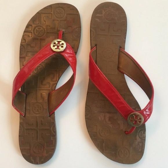 be59d03b726 TORY BURCH Thora 2 Thong Sandal-Red Patent. M 59e2a07f2fd0b70d1603ae0c