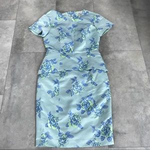 ASOS mint green neon floral peplum dress size 6!
