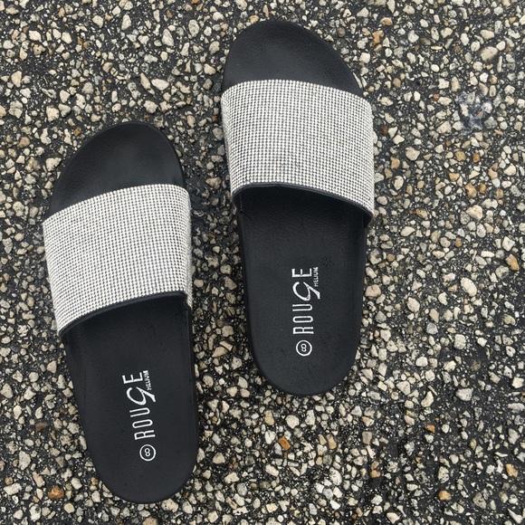 67e4e812d915 Rhinestone bling slides women sandals slip ons
