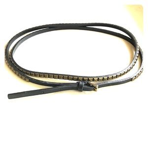 Accessories - Studded leather belt brown gold bronze XS Small