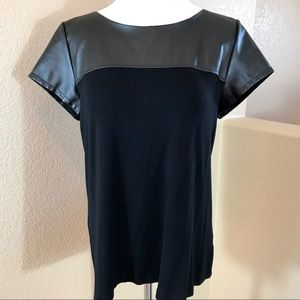 Ana Black Blouse / Shirt with Pleather Accent