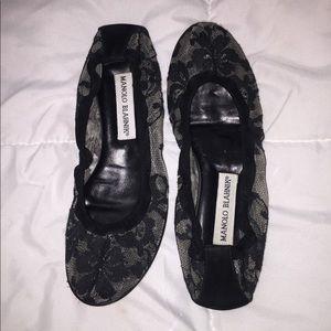 Manolo Blahnik black floral lace ballet flats