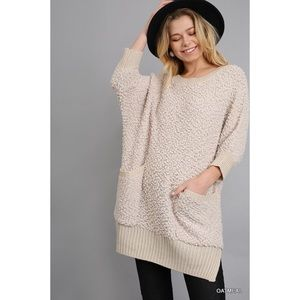 Pocketed Sweater-OATMEAL