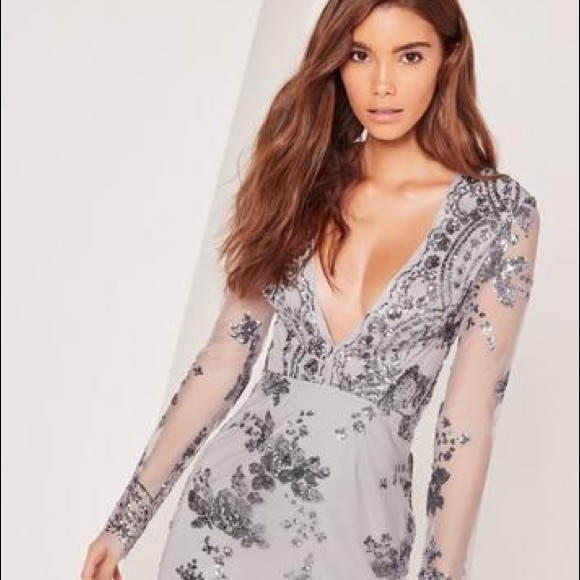 19810a17c9b Missguided Long Sleeve Sequin Bodycon Dress GREY