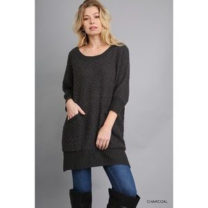 LAST ONE!! Pocketed Sweater-Charcoal