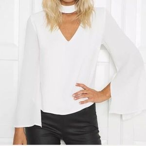 ✨HP✨ Patricia White Bell Sleeve Choker Top