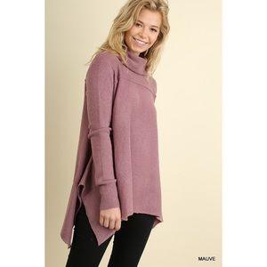 Cowl Neck Sweater-MAUVE