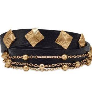 Evolving Always Jewelry - New Leather Bracelet With Gild Tone Hardward