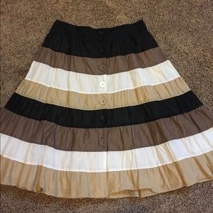 Cotton button down tiered skirt