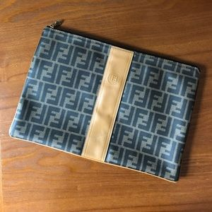Vintage Fendi logo zip clutch