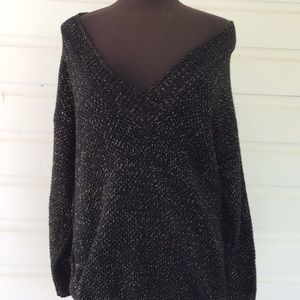 Vintage Oversized Slouchy Black Gold 80s Sweater