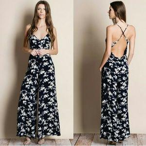 Pants - Floral Print Crossback Jumpsuit