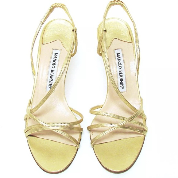 42cd74fe646 Authentic Manolo Blahnik Gold Strappy Heels 37 1 2.  M 59b044e26d64bcb93304a479