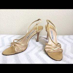 50ee713c1c0 Manolo Blahnik Shoes - Authentic Manolo Blahnik Gold Strappy Heels 37 1 2