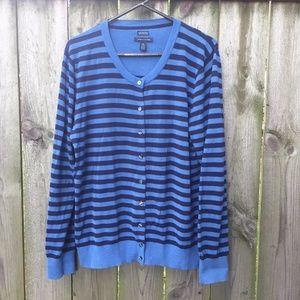 Tommy Hilfiger Pima Cotton Blue Striped Cardigan