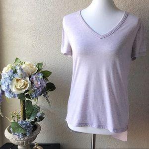 Lou & Grey Light Lavender Hi Lo V-Neck Tee